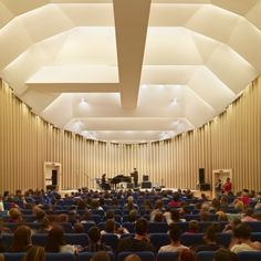 Shigeru Ban, Pritzker 2014. Paper Concert Hall – L'aquila, Italy, 2011. Image © Didier Boy de la Tour. Made from cardboard tubes for use after the earthquake in that city.