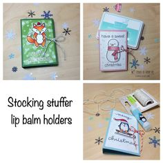 Lawn Fawn - Party Animal, Making Frosty Friends, Toboggan Together, Let's Bokeh in the Snow paper _ great gift idea by Wendie via Flickr _   https://flic.kr/p/BzvfWo | Lawn fawn stocking stuffer lip balm holders