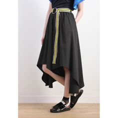Irregular Hem Wide Leg Culottes - Black