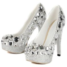 #AdoreWe #DressWe DressWe Bright Rhinestone Platform High Heeled Wedding Shoes - AdoreWe.com