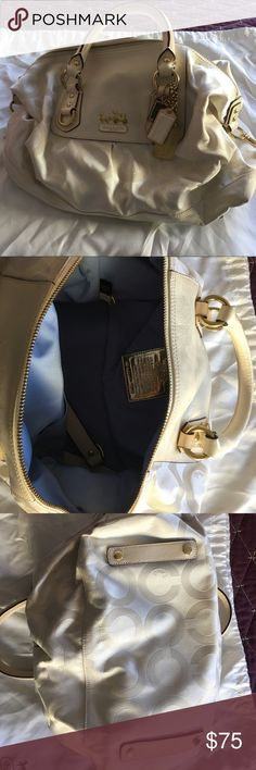 Coach cream satchel Coach cream coated canvas satchel. Great condition. Used once! Coach Bags Satchels