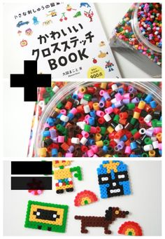 One Japanese cross stitch book + a giant jar of Hama beads = a whole lotta fun!