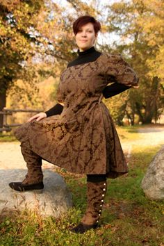 READY TO SHIP  Steampunk dress brown spats by RavenThreadsLab