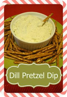 This is one of those recipes that I love to fix to go with just regular 'ole pretzels. It is an easy dill pretzel dip made with butter, cream cheese, and dill. It is almost addicting when you… Appetizer Dips, Appetizers For Party, Appetizer Recipes, Snack Recipes, Cooking Recipes, Snacks, Cooking Tips, Pretzel Dip Recipes, Pretzel Chips