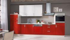 Einbauküche Peninna Rot/Weiß