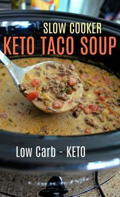 This Easy Slow Cooker Keto Taco Soup is Perfect for Fall!You can find Keto soup and more on our website.This Easy Slow Cooker Keto Taco Soup is Perfect for Fall! Crock Pot Recipes, Cooking Recipes, Healthy Recipes, Healthy Soup, Slow Cooker Keto Recipes, Crockpot Meals, Taco Soup Recipes, Chicken Recipes, Brothy Soup Recipes