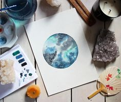 From the ocean  Original watercolor full Moon painting