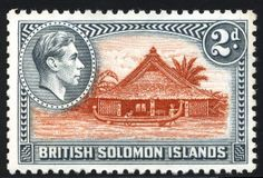 King George VI Postage Stamps: British Solomon Islands 1938 (1 Feb) - 51. SG60/72
