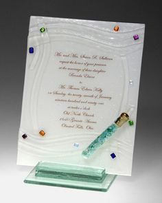Woven Pattern Glass Invitation Plaque.  Sara Beames Has Designed This Beautiful Handcrafted Glass With Your Wedding Invitation Embossed.  A Glass Tube Is Affixed To Hold Your Broken Wedding Glass.
