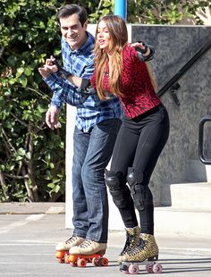 Ty Burrell and Sofia Vergara strapped on their roller skates to shoot scenes for Modern Family in L.A. Feb. 25.