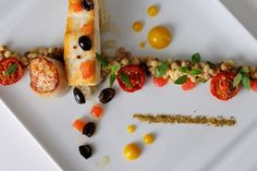 Halibut With Fregola, Scallops & Fennel Pollen Seafood Dishes, Fish And Seafood, Seafood Recipes, Great British Menu, Fennel Pollen, Parsnip Puree, Halibut Recipes, Olive Recipes, Scallop Recipes