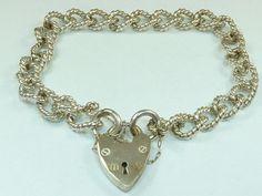 """Beautiful Vintage 925 Sterling Silver Charm Bracelet Fancy Links 21g 7"""" B685   eBay"""