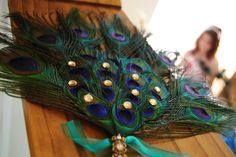 These, but ostritch feathers instead! DIY peacock feather bridesmaid fan/bouquets and groomsmen boutonnieres Boutonnieres, Groomsmen Boutonniere, Blue Wedding Dresses, Wedding Bouquets, Wedding Flowers, Purple Wedding, Diy Flowers, Diy Wedding, Dream Wedding