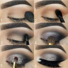 Black Smokey Eye Makeup Tutorial Smoky eyes Makeup - Das schönste Make-up Black Smokey Eye Makeup, Smokey Eye Makeup Tutorial, Eye Makeup Steps, Black Makeup, Eye Tutorial, Makeup Eyes, Glitter Eyeshadow Tutorial, Silver Glitter Eye Makeup, Silver Smokey Eye