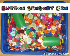 Pete the Cat Button Sensory Bin - I love hiding center cards and materials inside of the sensory bins. Sensory Motor, Sensory Tubs, Sensory Boxes, Sensory Play, Sensory Diet, Letter B Activities, Sensory Activities, Preschool Activities, Prek Literacy