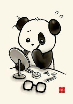 ' by Panda And Polar Bear Cute Panda Wallpaper, Bear Wallpaper, Panda Wallpapers, Cute Cartoon Wallpapers, Pandas Baby, Animal Drawings, Cute Drawings, Panda Makeup, Kawaii Makeup