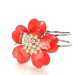Vibrant Coral Shell and Freshwater Pearl Bangle Bracelet CHRISTMAS http://stores.ebay.com/JEWELRY-AND-GIFTS-BY-ALICE-AND-ANN