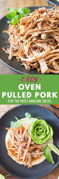 A recipe for those of you NOT owning a slow cooker but desperate for some tender and juicy tacos de carnitas: Oven Pulled Pork. Yes, it's easy! Healthy Meats, Healthy Meat Recipes, Vegetarian Recipes Dinner, Healthy Appetizers, Healthy Cooking, Lunch Recipes, Appetizer Recipes, Real Food Recipes, Cooking Recipes