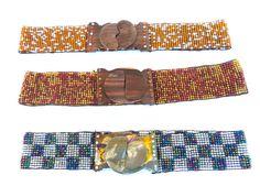 Ajedrez  Handmade mexican Beaded Elastic Wide Belt