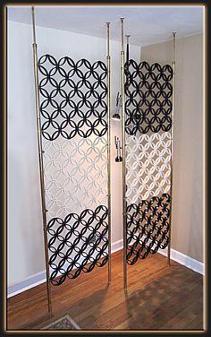 Great Vintage Mid Century Retro Modern 2 Tension Pole Panel Room Dividers White U0026  Black   Very Mod