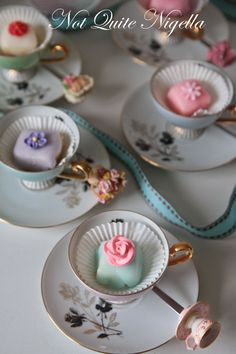 Petit Fours. perfect for tea!Nice recipe for the poured icing for petit fours. Afternoon Tea, Mini Cakes, Cupcake Cakes, Cup Cakes, Petit Four Icing, Tee Sandwiches, Finger Sandwiches, Nigella, Icing Recipe