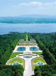 """The New Palace - Herrenchiemsee Castle, Lake Chiemsee, Germany - 1873 King Ludwig II of Bavaria acquired the Herreninsel as the location for his Royal Palace of Herrenchiemsee (New Palace). Modelled after Versailles, this palace was built as a """"Temple of Fame"""" for King Louis XIV of France, whom the Bavarian monarch fervently admired."""