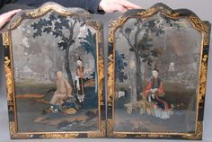 Pair of Framed Reverse Paintings on Mirrors, China, 19th century in gilt Chinoiserie/Chippendale arched frames, depicting young man and female servant.ht. 24in.; wd. 17in. - Realized Price: $14,400.00