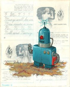 Original Robot Art  203 Robot  Mr Hooper Painting by mrhooper, $180.00