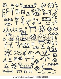 illustration of hand drawn animals and abstract elements made in cave drawings style. - stock vectorVector illustration of hand drawn animals and abstract elements made in cave drawings style. Cave Drawings, Animal Drawings, Drawing Animals, Ink Drawings, Art Pariétal, Afrique Art, Arte Tribal, Drawing Hands, Cross Hatching