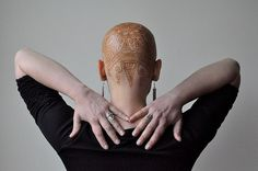 """""""Tara's head"""", photo by Frances Darwin (HennasLounge via Flickr).  One cancer patient conquers her bald head  celebrates her inner beauty with a beautiful, intricate henna """"tattoo"""".  Way to be a WARRIOR!    :-)"""
