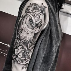 blackwork cute owl halfsleeve tattoo by @mateuszwojtak