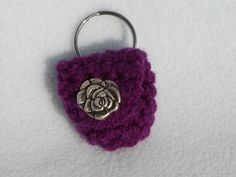 Keychain Coin CozyPurple with Silver Rose  Last by honeybee69