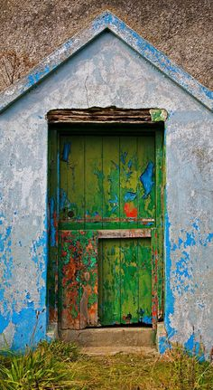 Solid-Faced Canvas Print Wall Art Print entitled Paint Effects, Old Cottage, Bunmahon, County Waterford, Ireland