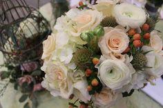 Peach and Cream, Ranunculus, Roses, Hypericum | Flowers by Tami McAllister