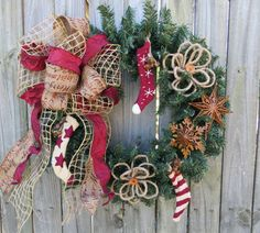 Primitive Christmas / Holiday Wreath  Warm Socks by HornsHandmade