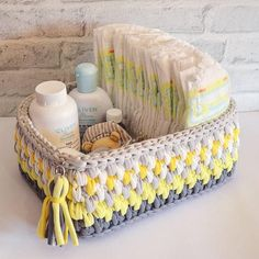 This Rectangular Hand Crochet Storage Basket can be easily used for storing diepers, toys, cosmetics, books and so many more. Crochet Bowl, Crochet Basket Pattern, Hand Crochet, Crochet Patterns, Cotton Crochet, Home Decor Baskets, Basket Decoration, Carpet Crochet, Crochet Storage