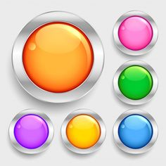Bright glossy shiny circles round button... | Free Vector #Freepik #freevector #circle #button #silver #gradient