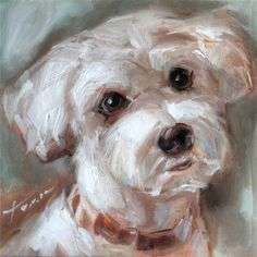 """Daily Paintworks - """"Puppy"""" - Original Fine Art for Sale - © Teresa Yoo"""