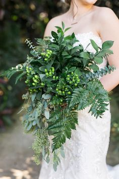 greenery bouquets - photo by Elaine K Garland Photography http://ruffledblog.com/gold-and-greenery-garden-wedding