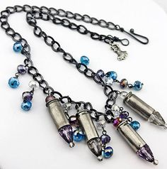 Crystal silver bullet necklace