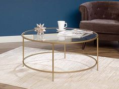 Glamorize your living room with this modern round coffee table from Sauder Woodworking, featuring a luxurious gold finish. Round Coffee Table Modern, 3 Piece Coffee Table Set, Round Glass Coffee Table, Coffee Tables For Sale, Brass Coffee Table, Glass Table, Ikea Round Table, Ikea Coffee Table, My Living Room