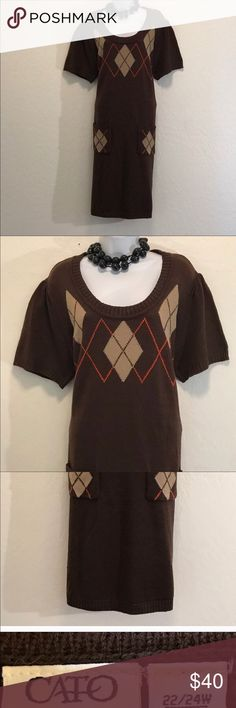 🇱🇷REPOSH Cato Brown Sweater Dress NEVER WORN Excellent Condition, Color Print, Good Stretch, 2 Low Front Pockets, Ribbed Collar, Hem and Ribbed Short Sleeve. Cato Dresses