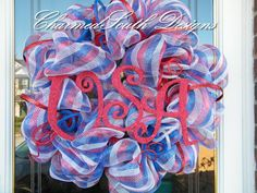 USA Patriotic Mesh Wreath by CharmedSouth on Etsy, $70.00