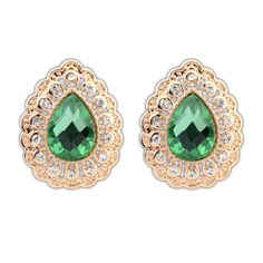 Occident elegant waterdrop rhinestone fashion ear studs ( green )