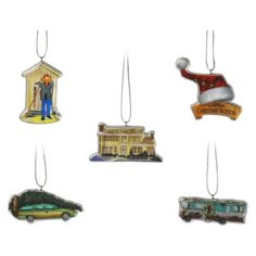 """5-Piece Christmas Vacation Ornament Set. Find seasonal decorations at Target.com! Decorate a tree this christmas with this set of 5 hallmark tree ornaments; they feature scenes from the movie, """"national lampoon's christmas vacation."""" they are made of thermoplastic rubber to prevent breakage should they fall from your tree. Each ornament has a loop for hanging. Give them as a gift, or treat yourself.. Price: $8.00"""