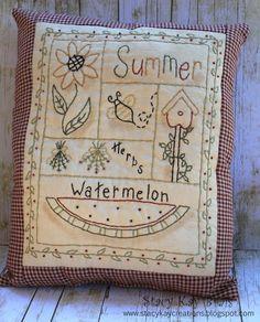 Handmade Primitive Summer Sampler Pillow by ScrapbookingCottage, $30.00