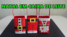 DIY 3 DECORAÇÃO de NATAL em CAIXA de LEITE  SACOLA para  PRESENTE