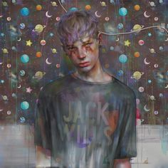 The work of Japanese artist非 (hi)are rendered digitally, leaving dreamy, ill looking young men, clad in an explosion of pastel geometric f...
