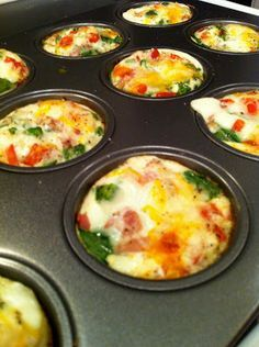 """Egg-White """"Muffins"""" with spinach, mushrooms, bell peppers, onion, cayenne, etc."""