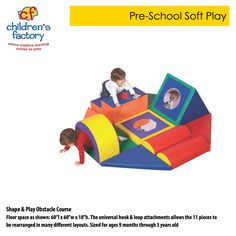 """Shape & Play Obstacle Course Floor space as shown: 60""""l x 60""""w x 18""""h. The universal hook & loop attachments allows the 11 pieces to be rearranged in many different layouts. Sized for ages 9 months through 3 years old  www.childrensfactory.com"""